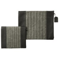Tallis and Tefillin Bag Set Faux Leather Solid 2 Tone Grey Striped