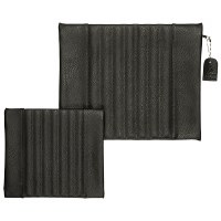 Tallis and Tefillin Bag Set Faux Leather Solid Grey Striped
