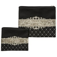Tallis and Tefillin Bag Set Faux Leather Black and Cream Diamond Shape Design