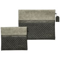 Tallis and Tefillin Bag Set Faux Leather 2 Tone Grey Quilted Design