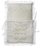 Bris Pillow Satin and Velvet Embroidered Design White
