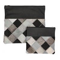 Tallis and Tefillin Bag Set Leather Dark Gray Checkered Fur Design