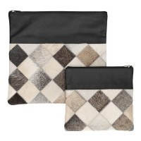Tallis and Tefillin Bag Set Leather Light Gray Checkered Fur Design