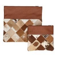 Tallis and Tefillin Bag Set Leather Brown Checkered Fur Design