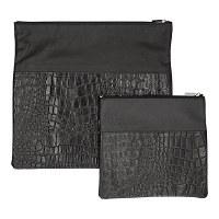 Tallis and Tefillin Bag Set Leather Black Snake Skin Design