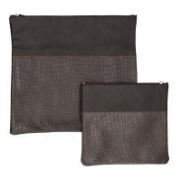 Tallis and Tefillin Bag Set Leather Brown Snake Skin Design