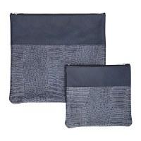 Tallis and Tefillin Bag Set Leather Blue Snake Skin Design