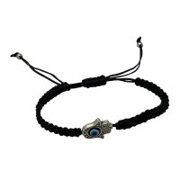 Black Bracelet Featuring Silver Colored Hamsa and Blue Evil Eye