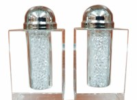 Crystal Salt and Pepper Shaker Set Crushed Stones Design 3""