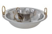 Hammered Stainless Steel Washing Cup and Bowl Set Leaf Handle Design