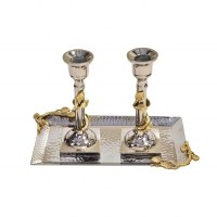 """Stainless Steel Candlesticks Leaf Design Gold 10"""" With Tray"""