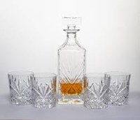 Crystal Liquor Set Including 4 Glasses and Square Bottle Decanter