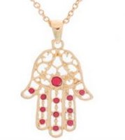 Hamsa Necklace Gold with Red Beads