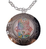 Necklace with Hamsa Black Locket Pendant
