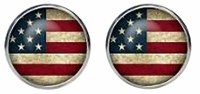 American Flag Button Cufflinks with Cuff Link Display Gift Box