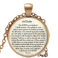 Necklace with Psalm 23 Pendant in English Bronze