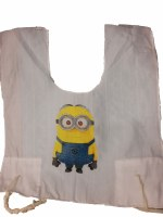 Cotton Tzitzis with Silk Screened Yellow Googly Eyed Mentchi Design Size 2