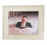 Framed Picture of Rav Belsky on Canvas in White Frame