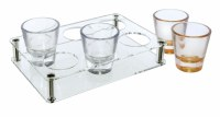 Acrylic Shot Glasses Set of 6 with Stand Gold Trim