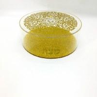 """Round Lucite Matzah Holder Floral Design Gold 12.5"""""""