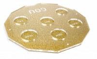 """Hexagon Lucite Seder Plate Gold Kaarah 13.5"""""""