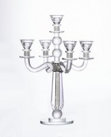 Crystal Candelabra 5 Branch Designed with Crushed Glass and Crystal Balls