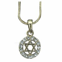 Necklace Magen David Circle Gold with Clear Stones