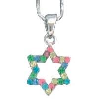 Necklace Magen David with Multicolored Stones
