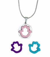 Necklace Hamsa with Rubber Inserts