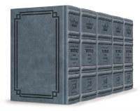 Artscroll Interlinear Machzorim Schottenstein Edition 5 Volume Set Signature Leather Collection Full Size Blue Lagoon Leather Ashkenaz