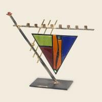 Triangular art-deco Menorah
