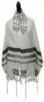 "Yair Emanuel Tallis Grey Stripes and Magen David Design 20"""