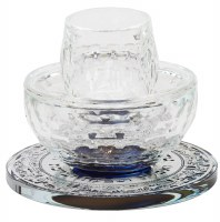 Crystal Mayim Achronim Silver Jerusalem Design Base Blue Center 4""