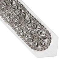"""Atara Gefluchtene Silver Colored Thick Flowers 5.5"""" Design"""