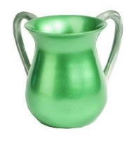 Yair Emanuel Aluminum Cast Wash Cup - Mint Green with Silver Handles