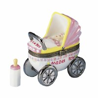 Baby Girl Hinged Box Carriage with Baby Bottle Treasure