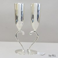 Silver Plated Kiddush Cup Bride and Groom 2 Cup Set
