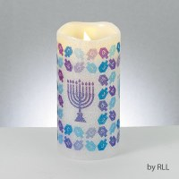 Chanukah LED Flameless Candle Pillar Designed with Dreidle and Menorah Decoration