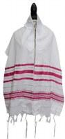 "Tallis Prayer Shawl Acrylic Size 24 Fuchsia and Silver Stripes 24"" x 72"""