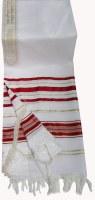 "Tallis Prayer Shawl Acrylic Size 50 Red and Gold Stripes 47"" x 68"""