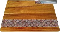 Challah Board Acacia Wood with Red Mosaic Stripe