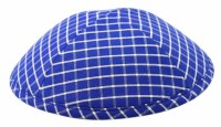 Cool Kippah Blue and White Checked Suit Material 4 Part 21cm