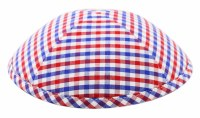 Cool Kippah Blue and Red Gingham Suit Material 4 Part 21cm