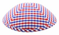 Cool Kippah Blue and Red Gingham Suit Material 4 Part #5
