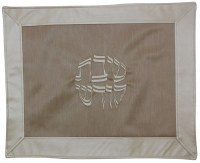Challah Cover Vinyl Brown and Silver Border Design