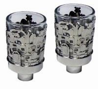 """Silver Plated Neronim Holder Jerusalem Design 3""""H"""