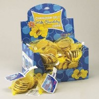 Chanukah Gelt Milk Chocolate Coins Box of 48 Bags