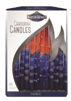 Chanukah Candles Blue Orange Red Premium Collection 45 Count