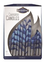 Chanukah Candles Blue White and Silver Executive Collection 45 Count 6""