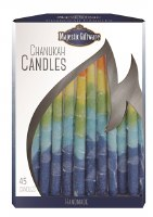 Chanukah Candles Blue Yellow Orange Premium Collection 45 Count